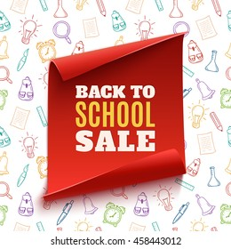 Back to School Sale red banner on hand drawn colorful seamless pattern with school tools. Vector illustration.