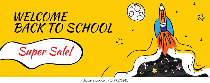 Back to school Sale with rocket and doodles horizontal background. Vector illustration for banners invitation poster and website