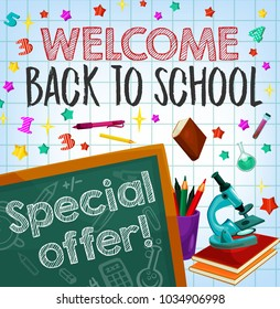 Back to school sale special offer poster of student items and equipment. Blackboard with school supplies, pencil, book and microscope banner on squared paper background for discount promotion design