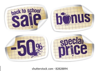 Back to school sale stickers set.