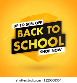 Back to school sale template design with yellow background
