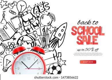 Back to school sale template. Realistic red alarm clock on outline doodle school background, vector illustration.
