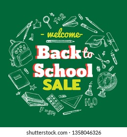 Back to school sale vector background with doodle school accessories and supplies  elements around the text. Hand drawn illustration isolated on green