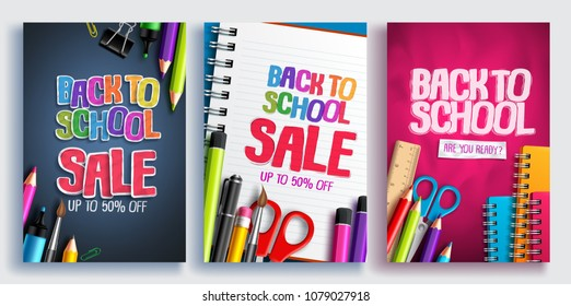 Back to school sale vector poster design set with colorful school supplies, educational items and sale text for shopping discount promotion. Vector illustration.