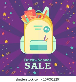 Back to school sale vector set of poster and banner with colorful title and elements in the background for retail marketing promotion and education related. Vector illustration.