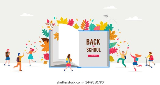 Back to school scene with big book and miniature people, children playing with autumn leaves, jumping and running. College, school and university concept vector illustration