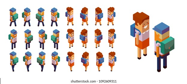Back to school Schoolboys and schoolgirls Papercraft Set of isometric schoolchildren figures suitable for isometric design, gaming applications Geometric style 3d vector collection Isolated on white
