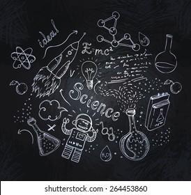 Back to School: science lab objects doodle vintage style sketchy frame, vector illustration over a blackboard