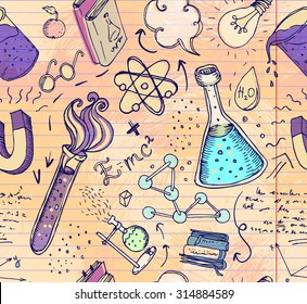 Back to School: science lab objects doodle vintage style sketches seamless pattern, vector illustration. Doodle lab equipment. Note book page paper.Biology geology alchemy chemistry. Tattoo elements.