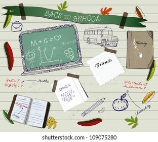 Back to school scrapbooking poster 2. Vector illustration EPS10