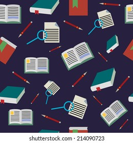 Back to school seamless pattern, books background, vector illustration.