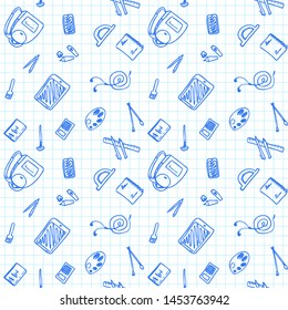 Back to School seamless pattern drawing by pen on paper with school items and elements. Vector