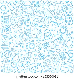 Back to school seamless pattern from education, science objects and office supplies. White vector background with blue line icons.
