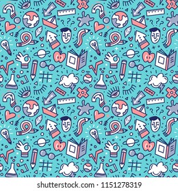 Back to school seamless pattern with hand drawn doodles.
