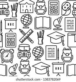 Back to school seamless pattern with thin line icons in circle: school bus, globe, books, backpack, calculator, pen, pencil.  Vector illustration for background.