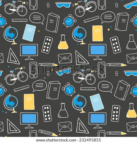 Back to school seamless pattern,education doodle elements on chalkboard black  background. Vector Illustration