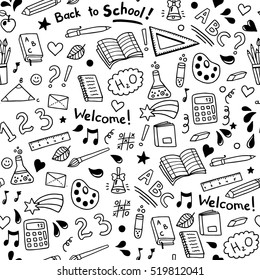Back to school seamless vector pattern. Good for textile fabric design, wrapping paper and website wallpapers. Vector illustration.