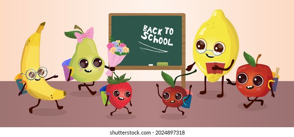 Back to school, a set of characters of live fruits in the classroom on the background of the blackboard (lemon, apple, cherry, strawberry, pear, banana)