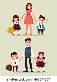 Back to school. Set of characters. Parents with their children schoolchildren. Vector illustration of a flat design