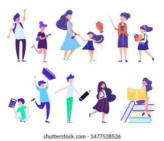 Back to School Set with Children Holding Studying Tools and Equipment, Teacher Meeting Pupils and Parents. Schoolboys and Schoolgirls Greeting New Educational Year. Cartoon Flat Vector Illustration