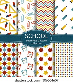 Back to school. Set of colorful school and education seamless patterns. Vector collection.