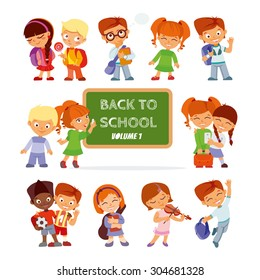 Back to school.Big set of cute cartoon children,pupils,boys and girls.Kids in various poses and actions:playing music,singing,jumping,smiling with friends,writing,reading. Vector icon set isolated