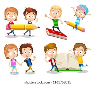 Back to school set with happy children. Smiling boys riding big book and pencil. Cute girl and boy show open book. Kids carry big pencil. Teenagers walking together. Preschool pupils vector characters