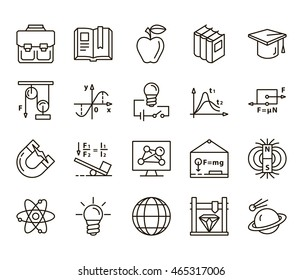back to school. Set of linear icons