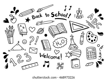 Back to school set of objects. Big vector collection. Nice lovely hand drawn illustrations.