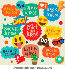 Back to school set of speech bubbles stickers, emoji smile faces, vector illustration.