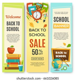 Back to school, set of vertical banners with school supplies