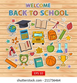 Back to school set.Scrapbook set.Sticker.Themed design with different elements:hat graduate,scroll, apple,books,flasks,basketball,alarm clock, briefcase, backpack, school bus,globe,ruler,microscope