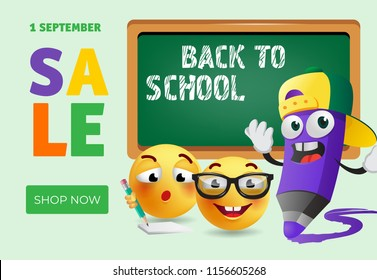 Back to school, shop now banner design with cartoon pencil, smart emotions and chalkboard. Text can be used for signs, posters, sale flyers, leaflets, promo offers