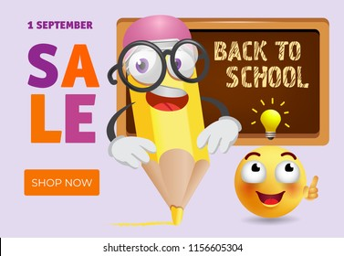 Back to school, shop now leaflet design with cartoon pencil, smart emoticon and chalkboard. Text can be used for signs, posters, banners, flyers, promo offers