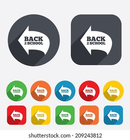 Back to school sign icon. Back 2 school symbol. Circles and rounded squares 12 buttons. Vector