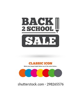 Back to school sign icon. Back 2 school pencil sale symbol. Classic flat icon. Colored circles. Vector