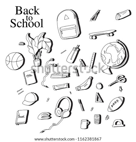 back school sketch elements black white stock vector royalty free Diagram of University back to school sketch elements black white education equipment pen notebook calculator