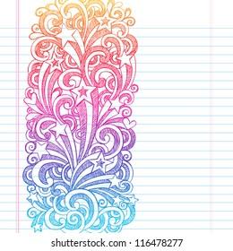 Back to School Sketchy Notebook Doodles Page Edge Border Design Shooting Stars and Swirls- Hand-Drawn Vector Illustration Design Element on Lined Sketchbook Paper Background