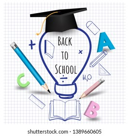 Back to school stationary sketch graphics icons education for banners, posters - Vector