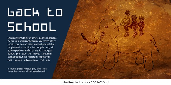 Back to School Stone Age Background. Cave drawings. Text back to school on a rock. Design element for the design of leaflets, cards, envelopes, covers, flyers sales