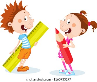 back to school student, girl and boy hold school supplies - ruler and pen - vector cartoon flat design illustration isolated on white background