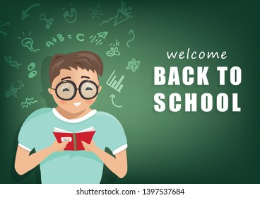 Back to school, student learning, people character vector, sign and symbol flat design, poster background cover book, web, flyer, banner and template
