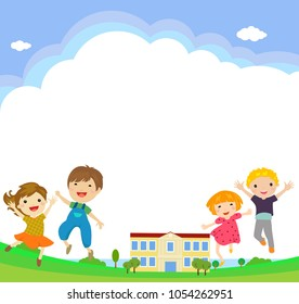 Back to school students vector characters funny boys and girls kids jumping