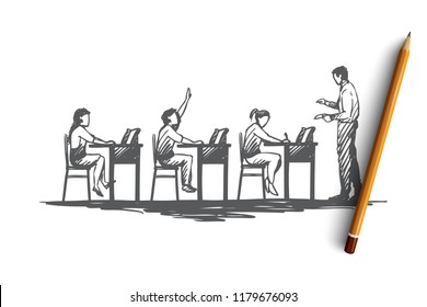 Back to school, study, education, knowledge, learning concept. Hand drawn pupils in classroom during lesson concept sketch. Isolated vector illustration.