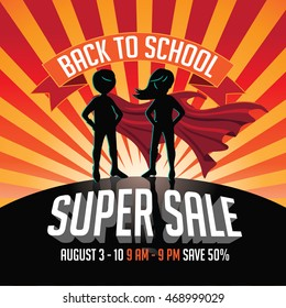 Back to school super sale super hero burst background. EPS 10 vector.