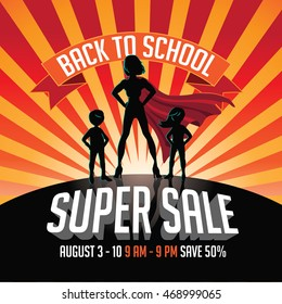 Back to school super sale super hero burst background. EPS 10 vector.