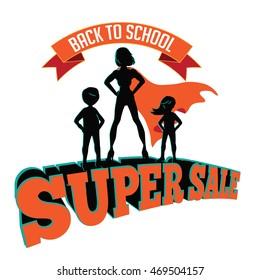 Back to school super sale super hero design. EPS 10 vector.