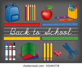 Back to School Supplies, chalkboard, backpack, crayons, pencils, sharpener, markers, folders, scissors, apple for the teacher, cursive script handwriting, penmanship lines. EPS8 compatible.