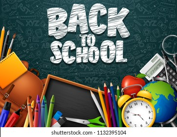 Back to School with school supplies and doodles on blue chalkboard background