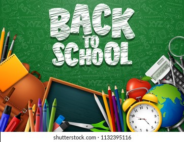 Back to School with school supplies and doodles on green chalkboard background